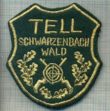 68 - EMBLEMA MANECA- TELL SCHWARZENBACH WALD-VANATOARE, TIR -starea care se vede