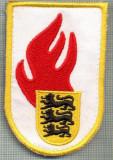 59 - EMBLEMA MANECA - POMPIERI -GERMANIA- Jugendfeuerwehr  -starea care se vede