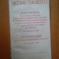 G4 Nicolae Ceausescu - Expunere la Sedinta comnua... - Carte Epoca de aur