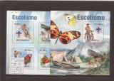 Mozambik - fluturi si scouts 6777/80+bl.795