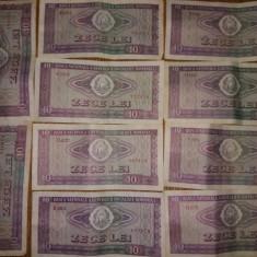 Lot 10 bancnote 10 lei 1966 - Bancnota romaneasca