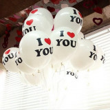 "SET 100 BALOANE PROFESIONALE LATEX, CALITATE HELIU, INSCRIPTIONATE ""I LOVE YOU""."