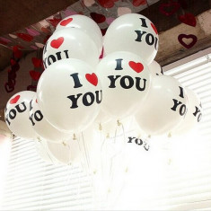 "SET 100 BALOANE PROFESIONALE LATEX,CALITATE HELIU,INSCRIPTIONATE ""I LOVE YOU""."