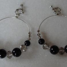 cercei clipsuri perle de sticla si cristale