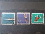 3 TIMBRE STAMPILATE CHINA SPORT 1959 SI 1965, Sarbatori, Stampilat