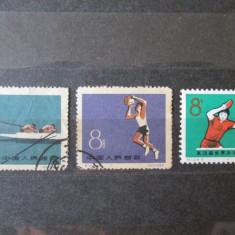 3 TIMBRE STAMPILATE CHINA SPORT 1959 SI 1965 - Timbre straine, Sarbatori
