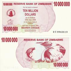 ZIMBABWE 10.000.000 dollars BEARER CHEQUE 2008 UNC!!! - bancnota africa