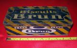 BISCUITS BRUN,  cutie VINTAGE metalica pentru biscuiti, interbelica veche Franta