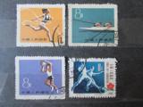 4 TIMBRE STAMPILATE CHINA SPORT 1955 SI 1959, Sarbatori, Stampilat