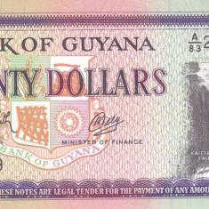 Bancnota Guyana 20 Dolari (1989) - P27 UNC - bancnota america