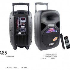 BOXA AMPLIFICATA TROLER CU MP3 PLAYER USB,ACUMULATOR,MICROFOANE,BASS 12 INCH.
