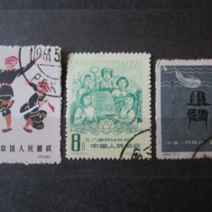 3 TIMBRE CHINA:1958, 1959 SI 1963 - Timbre straine, Sarbatori, Stampilat