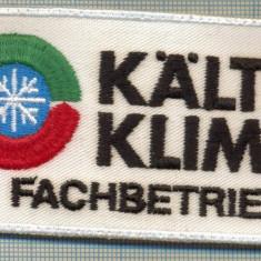 144 -EMBLEMA -KALTE KLIMA FACHBETRIEB -FIRMA DE CLIMATIZARE -starea care se vede - Uniforma militara