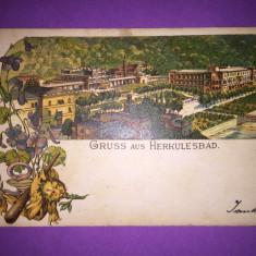 Baile Herculane - Litografie - Carte Postala Banat 1904-1918, Circulata, Fotografie