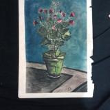 Acuarela pe carton vaza cu flori semnat anii 70-80 - Pictor roman, Altul