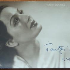 Actrita Tanti Cocea, fotografie alb - negru cu autograf, 1942