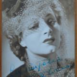 Actrita Dina Cocea, foto alb - negru cu autograf, din timpul razboiului, 1