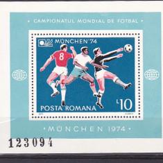 Romania Camp mond de fotbal Munchen colita,  nr lista  852., Nestampilat