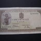 500 lei 1941 aprilie 2 filigran BNR orizontal #L/8 - Bancnota romaneasca