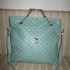 Geanta dama mare bleu Chanel+CADOU, Culoare: Din imagine, Geanta de umar, Asemanator piele