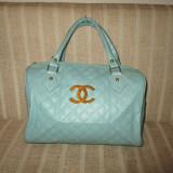 Geanta dama bleu Chanel+CADOU, Culoare: Din imagine, Marime: Medie, Geanta de umar, Asemanator piele