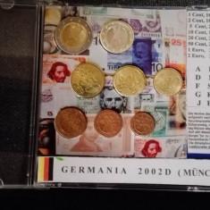 Set monede euro din anul de adoptare in Germania, 2002D, monetaria Munchen, Europa