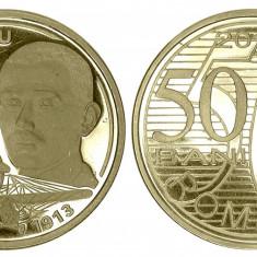 ROMANIA 50 BANI 2010 AUREL VLAICU UNC NECIRCULATA VARIANTA PROOF - Moneda Romania