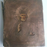 Veche icoana- Sf. Nicolae- ruseasca-ferecata in alama.