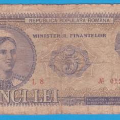 (2) BANCNOTA ROMANIA - 5 LEI 1952 - R. P. R. - SERIE ROSIE - RARA - Bancnota romaneasca