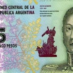 Argentina 5 Pesos (nedatata; circa 2015) P-New UNC !!! - bancnota america
