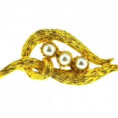 Brosa placata aur, gold plated 18 k, duble, stil modernist Leaf, perle, vintage - Brosa placate cu aur