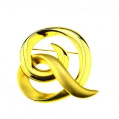 Brosa placata aur, gold plated 18 k, duble, stil modernist, model Knot, vintage - Brosa placate cu aur