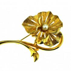 Brosa placata aur, gold plated 18 k, duble, model floare decorata perla, vintage - Brosa placate cu aur