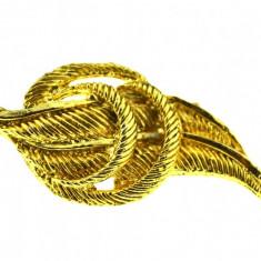 Brosa placata aur, gold plated 18 k, duble, stil modernist, model Leaf, vintage - Brosa placate cu aur
