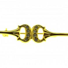 Brosa placata aur, gold plated 18 k, duble, model minimalist ac cravata, vintage - Brosa placate cu aur