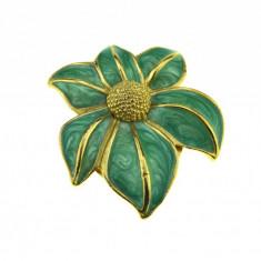Inel pentru esarfa / clips, decorat email design romantic, model floare, vintage - Brosa placate cu aur