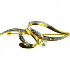 Brosa placata aur argint, gold plated 18 k, duble, design modernist, vintage - Brosa placate cu aur