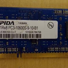 Ram Laptop Elpida DDR3 PC3-10600S 1Gb EBJ10UE8BDS0-DJ-F - Memorie RAM laptop Elpida, 1333 mhz
