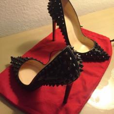 Pantofi stiletto CHRISTIAN LOUBOUTIN Pigalle Spikes - PE STOC - Super Promotie!! - Pantof dama Christian Louboutin, Culoare: Negru, Marime: 36, Piele naturala