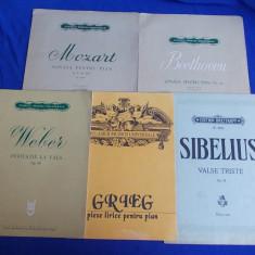 LOT 5 PARTITURI PENTRU PIAN : GRIEG,WEBER,SIBELIUS,MOZART,BEETHOVEN - 1958-1992