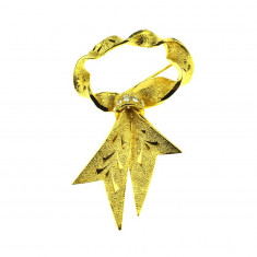 Brosa placata aur, gold plated 18 k, duble, model retro funda cristale, vintage - Brosa placate cu aur