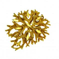 Brosa aurita, design modernist, stil brutalist, model futurist bijuterie vintage - Brosa placate cu aur