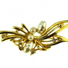 Brosa placata aur, gold plated 18k, duble, anturaj cristale perle baroce vintage - Brosa placate cu aur