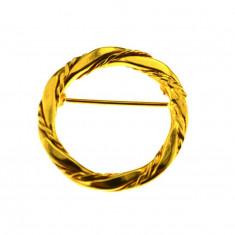Brosa placata aur, gold plated 18 k, duble, vintage, design geometric torsadat - Brosa placate cu aur