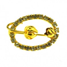 Brosa placata aur, gold plated 18 k, duble, decorata cristale, model minimalist - Brosa placate cu aur