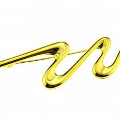 Brosa placata aur, gold plated 18 k, duble, stil modernist abstract, vintage - Brosa placate cu aur