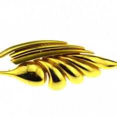 Brosa placata aur, gold plated 18 k, duble, design modernist vintage, semnata - Brosa placate cu aur