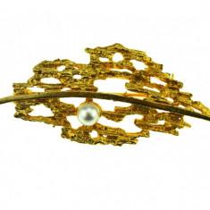 Brosa placata aur, gold plated 18 k, duble, design modernist brutalist, perla - Brosa placate cu aur