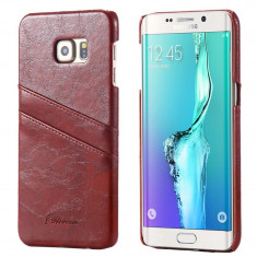 HUSA PIELE SAMSUNG GALAXY S6 EDGE bonus FOLIE PROTECTIE - Husa Telefon Samsung, Maro, Piele Ecologica