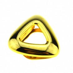 Inel pentru esarfa placat aur, gold plated 18 k, duble, design modernist vintage - Brosa placate cu aur